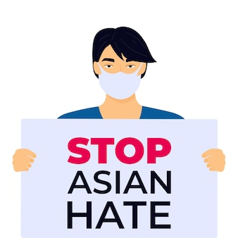 Zatrzymaj azjatycki plakat nienawiści na tle rasizmu chińczyk trzyma sztandar holds