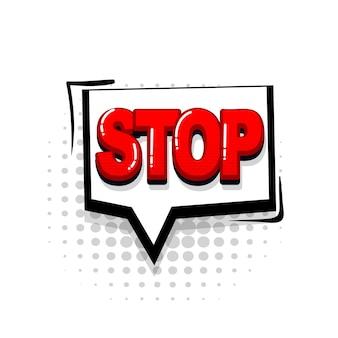 Zatrzymaj brak kolekcji komiksów czerwony tekst efekty dźwiękowe w stylu pop-art wektor dymek