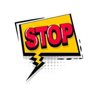 Zatrzymaj brak komiksu efekty dźwiękowe w stylu pop-art wektor dymek słowo kreskówka