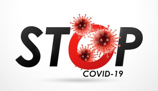 Zatrzymaj chorobę koronawirusową zakażenie covid-19 medyczne. nowa oficjalna nazwa choroby koronawirusowej o nazwie covid-19, ilustracja