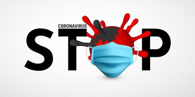 Zatrzymaj coronavirus covid-19. ilustracja maski medycznej jednostki wirusa. światowa koncepcja pandemii.