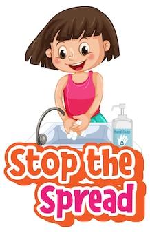 Zatrzymaj czcionkę spread z dziewczyną myjącą ręce mydłem na białym tle