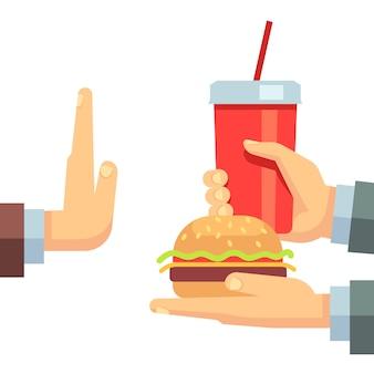 Zatrzymaj fast food przekąski śmieci wektor koncepcji