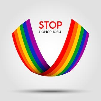 Zatrzymaj homofobię. wstążka lgbt na jasnym tle. element w.