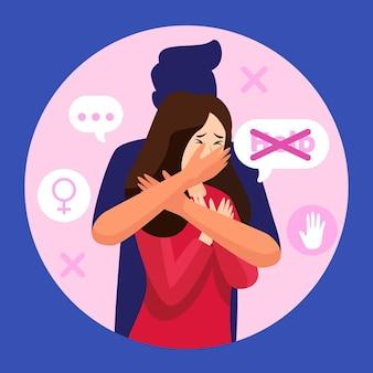 Zatrzymaj ilustrację przemocy ze względu na płeć