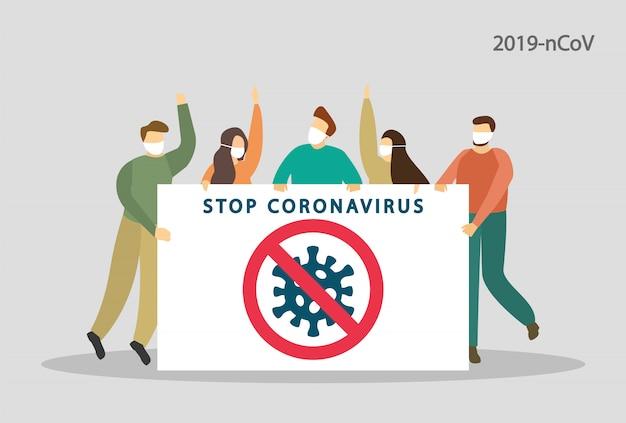 Zatrzymaj koronawirusa. 2019-ncov. ludzie protestują. niebezpieczny wirus, pandemia. ilustracja