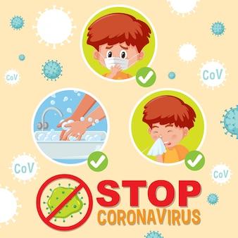 Zatrzymaj koronawirusa, gdy chłopiec robi krok w celu zapobiegania koronawirusowi