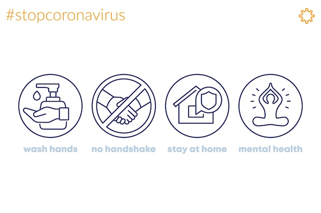 Zatrzymaj koronawirusa, ikony linii porad, myj ręce, zostań w domu