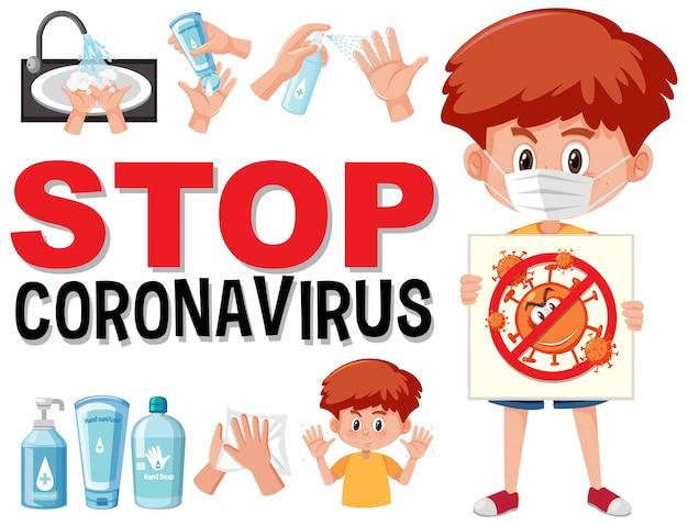 Zatrzymaj koronawirusa z chłopcem trzymającym zatrzymanie koronawirusa