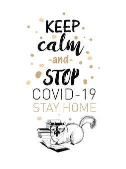 Zatrzymaj koronawirusa. zabawna ilustracja kota.