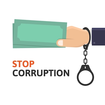 Zatrzymaj korupcję, ręka biznesowa trzyma pieniądze, podczas gdy ilustracja projektu kajdanki