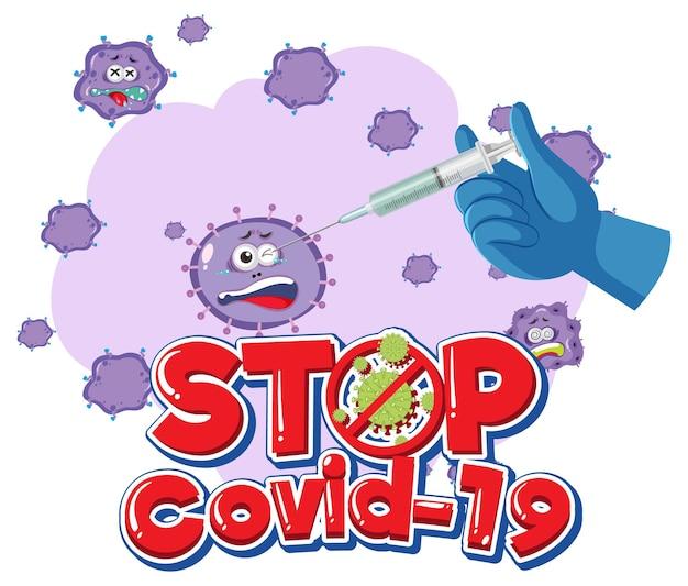 Zatrzymaj logo lub baner covid-19 z butelką szczepionki covid-19 i znakiem koronawirusa