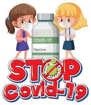 Zatrzymaj logo lub baner covid-19 z postacią z kreskówek dla dzieci i butelką szczepionki na covid-19