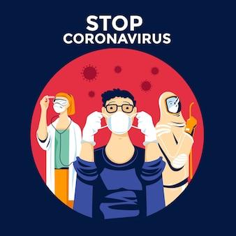 Zatrzymaj ludzi koronawirusa noszących ochronę
