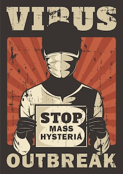 Zatrzymaj masową histerię wirus corona covid 19 wybuch propagandy oznakowanie plakat retro rustykalny wektor
