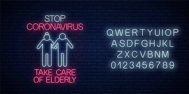 Zatrzymaj neonowy znak koronawirusa za pomocą starszej ikony i alfabetu. symbol ostrzegawczy wirusa covid-19 w stylu neonowym