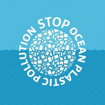 Zatrzymaj ocean plastikowy zanieczyszczenia koncepcja wektor ilustracja koło glob wypełniony plastikowymi śmieciami płaski