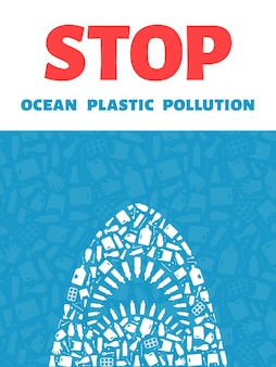Zatrzymaj ocean plastikowy zanieczyszczenie koncepcja wektor ilustracja zabójca rekin kontur wypełniony plastikiem