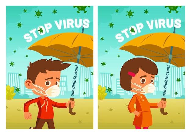 Zatrzymaj plakaty z kreskówkami wirusów