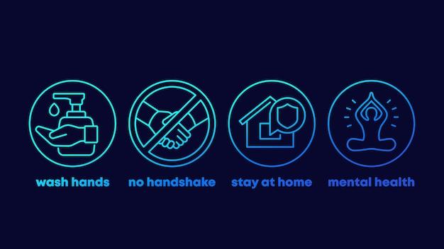 Zatrzymaj porady dotyczące koronawirusa, myj ręce, zostań w domu ikony linii