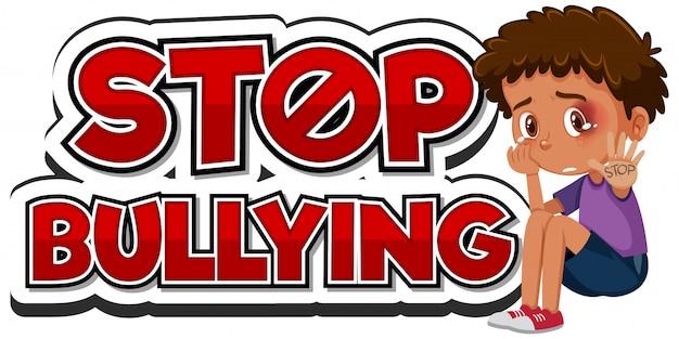 Zatrzymaj projekt czcionki przemocy domowej ze smutnym chłopcem