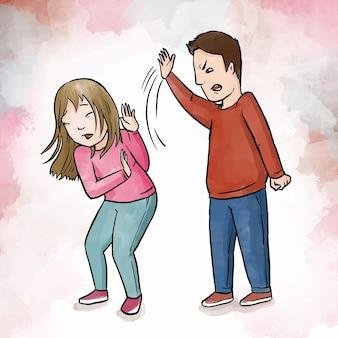 Zatrzymaj przemoc ze względu na płeć z mężczyzną i kobietą