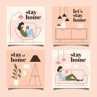 Zatrzymaj się w domu, szablon kolekcji wydarzeń na instagramie