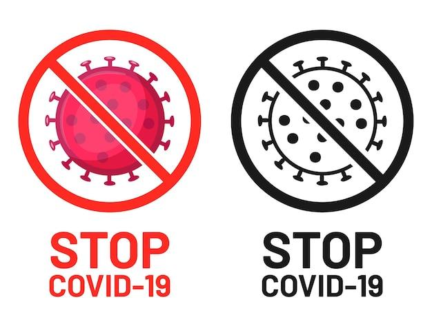 Zatrzymaj symbol covid-19, znak ogniska uwagi