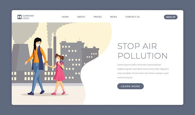 Zatrzymaj szablon strony docelowej zanieczyszczenia powietrza. ochrona przed smogiem, emisjami przemysłowymi i pyłem miejskim. ludzie w maski kreskówki ilustraci dla strony internetowej