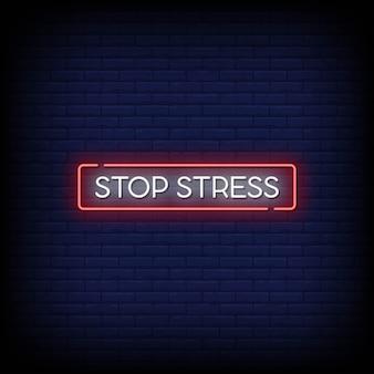 Zatrzymaj tekst w stylu neonów stresu