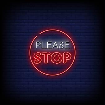Zatrzymaj tekst w stylu neonów