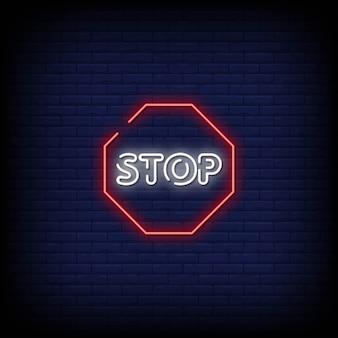 Zatrzymaj tekst w stylu neony