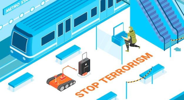 Zatrzymaj terroryzm za pomocą izometrycznej ilustracji symboli bezpieczeństwa podziemnego