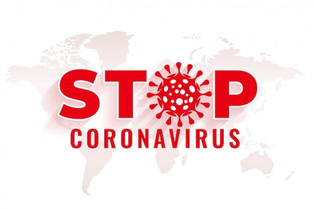 Zatrzymaj tło koronawirusa z wirusem symbol projektu
