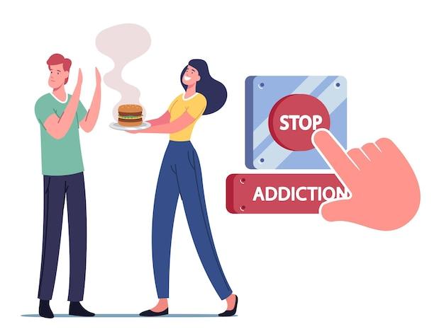 Zatrzymaj uzależnienie, rozpocznij koncepcję zdrowego stylu życia. postać poddaje się niezdrowemu jedzeniu