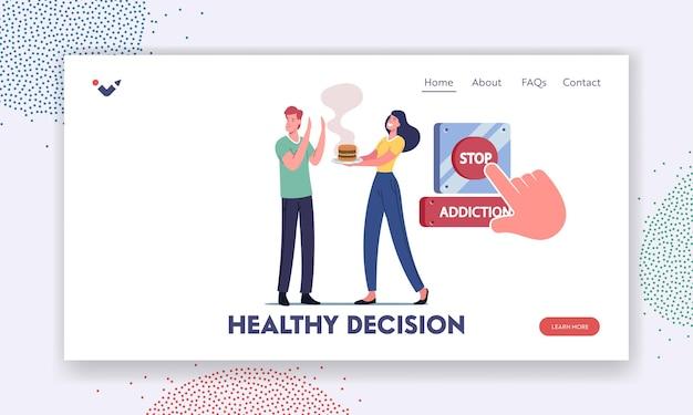 Zatrzymaj uzależnienie, zacznij szablon strony docelowej zdrowego stylu życia. postać poddaje się niezdrowemu odżywianiu. człowiek odmówić fastfood. palec push ogromny czerwony przycisk, przeładowanie życia. ilustracja wektorowa kreskówka ludzie