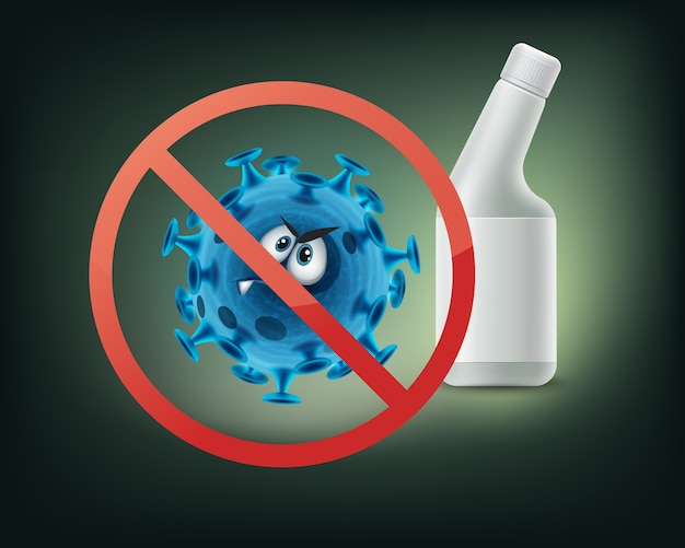 Zatrzymaj zakaz podpisywania bakterii z bliska widok z przodu na białym tle