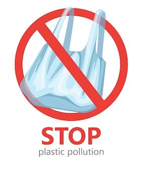 Zatrzymaj zanieczyszczenie plastikiem. brak symbolu plastikowych toreb. zapisywanie logo ekologii. ilustracja na białym tle