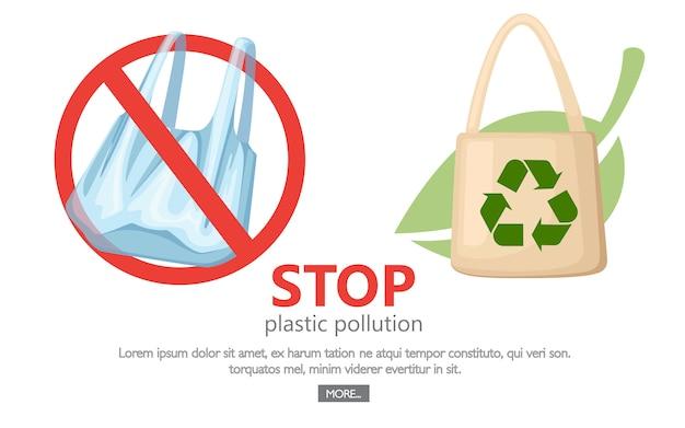 Zatrzymaj zanieczyszczenie plastikiem. brak symbolu plastikowych toreb. zapisywanie logo ekologii. tkanina beżowa lub papierowa torba z zielonym liściem na tle. ilustracja na białym tle