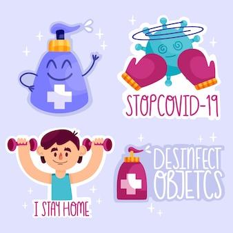 Zatrzymaj zestaw odznak wirusa pandemicznego