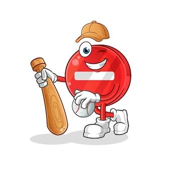 Zatrzymaj znak grający w baseball ilustracja