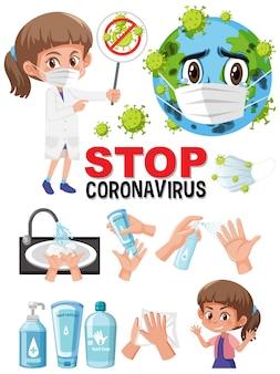 Zatrzymaj znak tekstowy koronawirusa ręką, używając produktów odkażających
