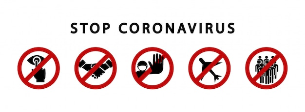 Zatrzymaj znaki ostrzegawcze koronawirusa. symbol zakazu. kwarantanna strefy. niebezpieczny wirus.