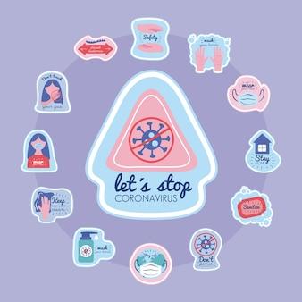 Zatrzymajmy kampanię naklejek wirusa koronowego z trójkątnym sygnałem i ikonami ilustracji wektorowych