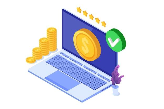 Zatwierdzona transakcja, transakcje finansowe, płatność bezgotówkowa, waluta pieniężna, płatność koncepcja izometryczna nfc.