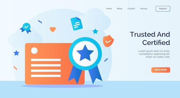 Zaufana i certyfikowana kampania ikona certyfikatu licencji dla szablonu strony głównej strony internetowej w stylu kreskówki.