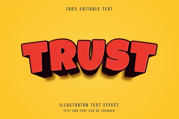Zaufanie, efekt edytowalnego tekstu 3d czerwony nowoczesny styl komiksowy cień