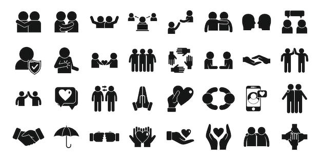 Zaufanie ikony zestaw prosty wektor. zespół ludzi. razem zaufaj społeczności