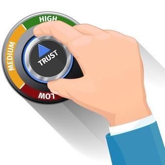 Zaufany przełącznik z pokrętłem. koncepcja wysokiego poziomu zaufania. projekt techniczny, nowoczesne zarządzanie