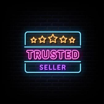 Zaufany sprzedawca neon logo tekst wektor